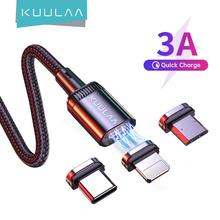 KUULAA magnetyczny kabel ładujący szybkie ładowanie USB Micro typ C kabel magnes synchronizacja danych przewód ładujący kabel telefoniczny do iphone #8217 a przewód USB tanie tanio LIGHTNING TYPE-C Micro Usb CN (pochodzenie) NYLON USB A Magnetyczne Ze wskaźnikiem LED Złącze ze stopu Magnetic charger magnetic dust plug
