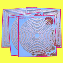 4 Set большие режущие штампы с рваной кромкой прямоугольные квадратные круглые и овальные открытки, скрапбукинг, бумажные ремесла DIY, сюрприз, создание штампов