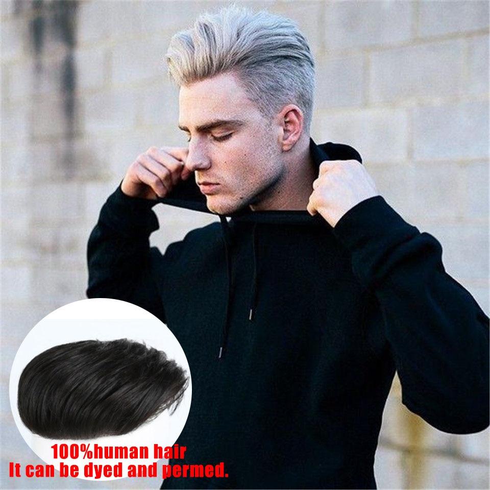 Perte de cheveux sur le dessus de la tête cheveux Toupets de Cheveux Humains pour Hommes Coller ou de serrage sur la tête