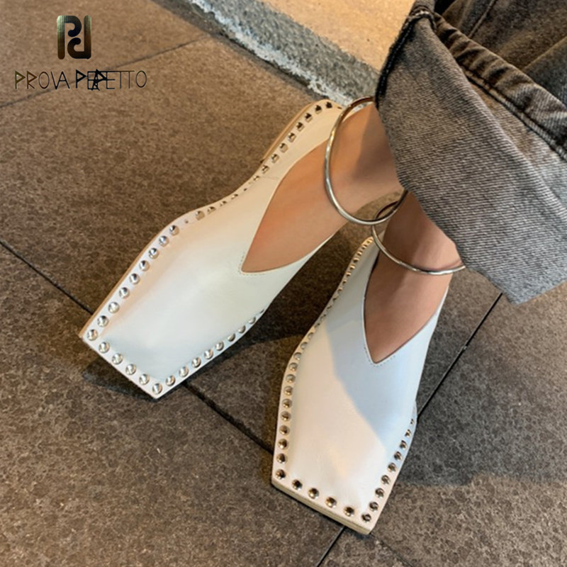 Prova Perfetto Metal Decoration Square Toe Single Shoes Woman Solid Color Rivet Real Leather Calzado Mujer Woman Flats Shoes