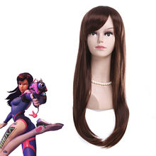 Game OW DVA D.va Copslay Wig Brown Colour Hana Aong Wig Costume Peruca DVA Cosplay Women 65cm Wigs(China)