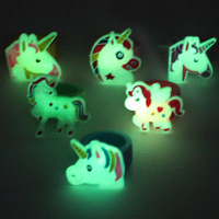 Night Light Unicorn Ring Children Cartoon Luminous Ring PVC Soft Silcone Rings Hand Jewelry Party Small Gifts