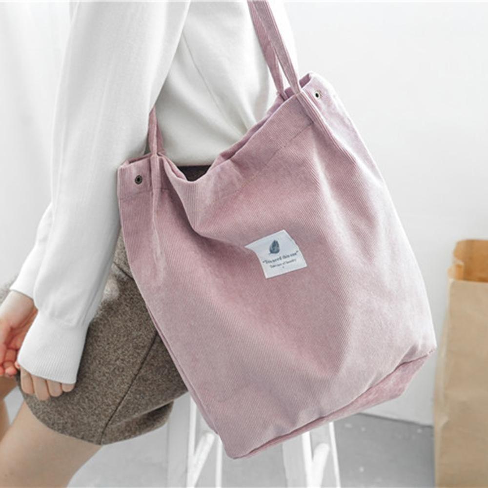 WantGor Corduroy Totes Bag Womens Shoulder Handbags Big Capacity Shopping Bag