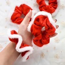 2 шт./компл. Рождество резинка для Для женщин и девочек; резинка для волос, обтянутая тканью; резиновые модные рождественские украшения для волос кольцо бархатная тканью; прическа хвостик;