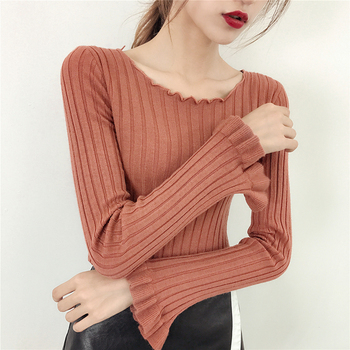 Sexy ruched sweater women long sleeve sweater women pullover long pull femme black sweater femme autumn winter tops blue Women Outerwear & Accessories