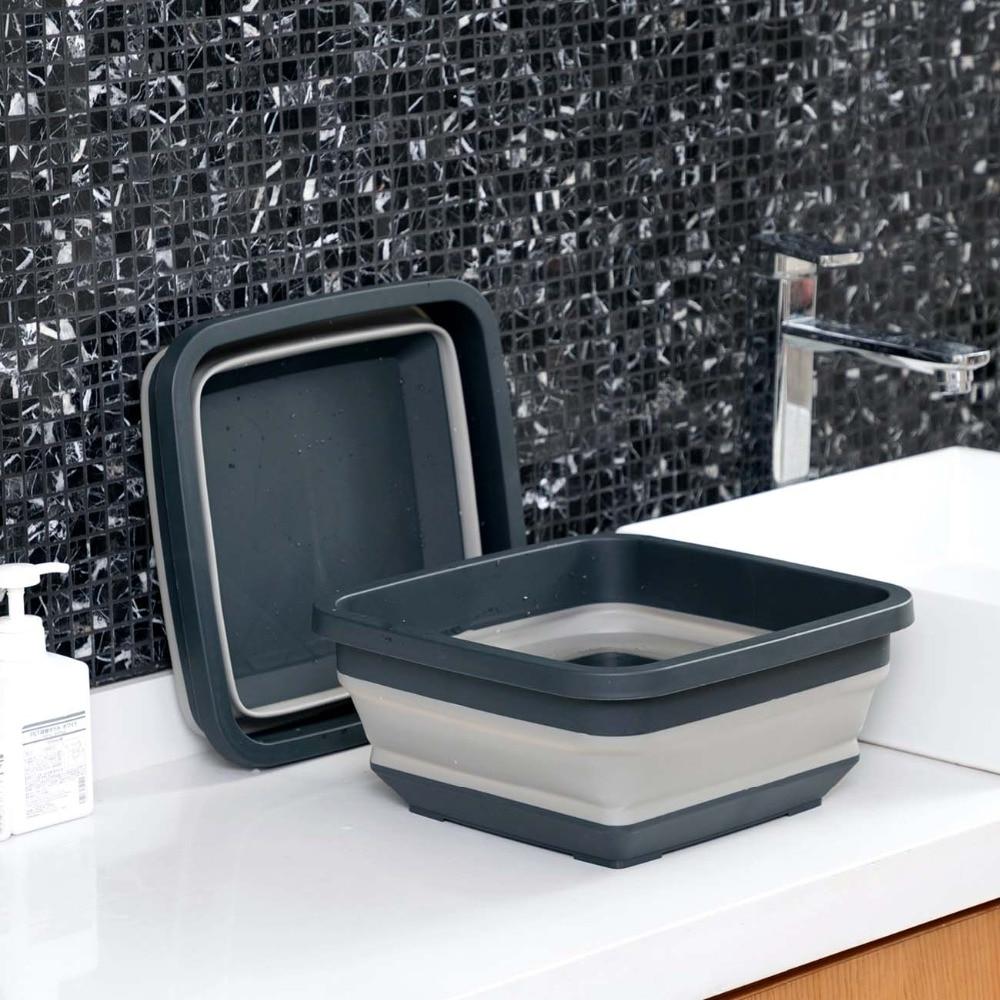 Folding Wash Basin Portable Washbasin Travel Outdoor Camp Basins Foldable Plastic Basin Foot Bath Bucket Multifunctional
