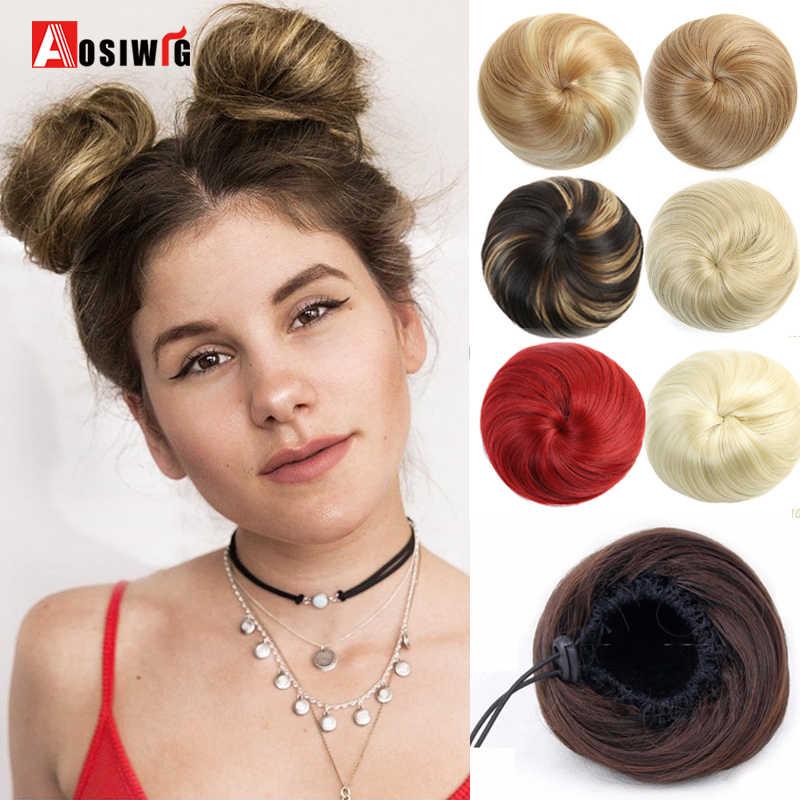 Corto Sintetico Extensions Chignon Donut Roller Bun Parrucca Parrucchino Per Le Donne 10 colori Disponibili AOSIWIG