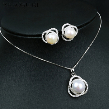 цена ZHBORUINI Fashion Necklace Pearl Jewelry set Freshwater Pearl 925 Sterling Silver Zircon Pearl Earrings Pendant For Women Gift онлайн в 2017 году