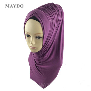 Image 3 - TJ29 1   Fashion Fold Muslim Hijab Headband Pashmina Muslim Shawl