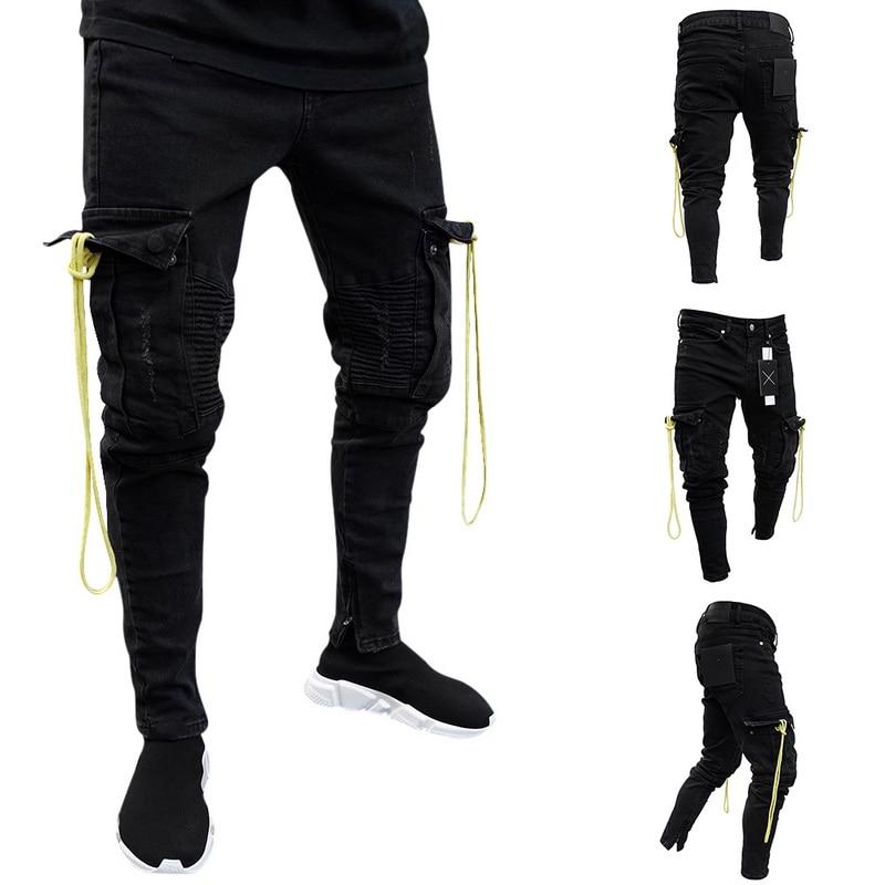 Oeak Men Slim Racer Biker Jeans Fashion Hiphop Jeans Denim Skinny Jeans 2019 New Fashion Creative Design Zipper Pants