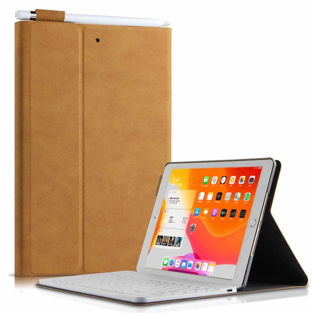 Sottile Custodia Per IPad 10.2 Pollici 2020 Wakec/Sonno Del Basamento Della Copertura Della Tastiera di Bluetooth + Caso Tablet + Cavo Dati con la Penna Set # LR3