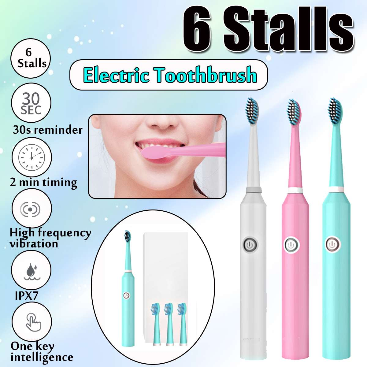 Soft Electric Toothbrush 6 Stalls Acoustic Wave Vibration Waterproof with 4 Brush Head Replaceable Whitening Healthy Best Gift image