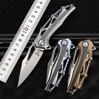New Free Shipping High Quality M390 Powder Steel Outdoor Folding Knife Titanium alloy TC4 Survival Camping Hunting Knives Tools