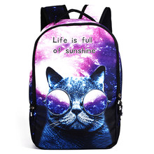 Life Is Full of Sunshine Women School Bag 3D Cartoon Cat Softback School Backpack Bag For Girls Printing Backpack Travel Bags(China)