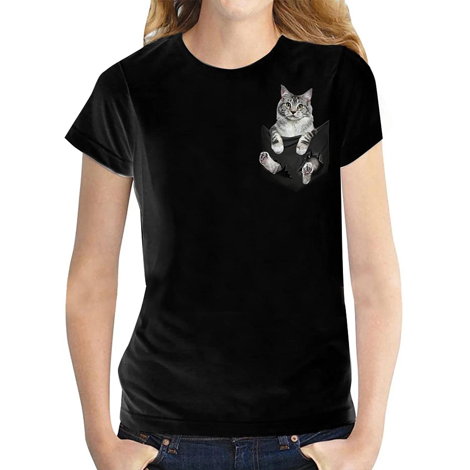 T-shirt manches courtes col rond Femme, estival et à la Mode, avec chat imprimé, Harajuku, grande taille