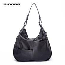 GIONAR натуральная ручная работа мягкая кожаная сумка Хобо для женщин роскошный первый слой коровья кожа сумки дизайнерские большой черный носок сумка