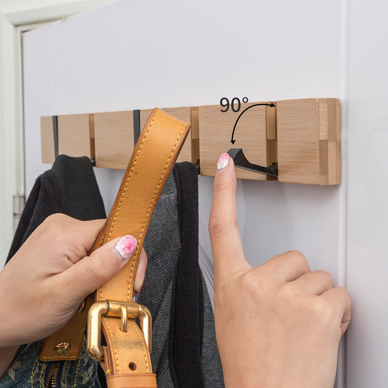 Folding  Coat Hook Bamboo Wall Hook Without Drilling Door Hanger Nailless Hat Clothes Rack For Entryway Bedroom Kitchen Office
