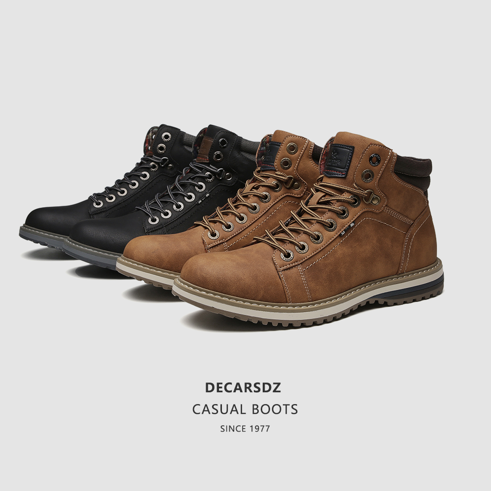 Man Shoes Casual Boots Men 2020 Autumn Fasihon Shoes Men Comfy Lace-Up Men Boots High Quality Leather Outdoor Hiking Men's Boots 5