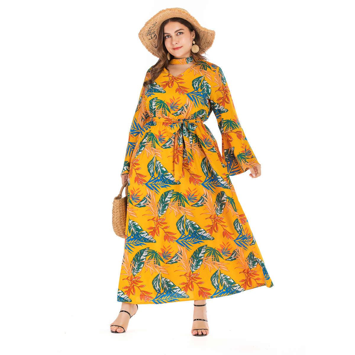 יצרני מכירה ישירה AliExpress EBay אמזון צלב גבול פעמון שרוול V-צוואר מודפס גדול גודל נשים שמלה 63001