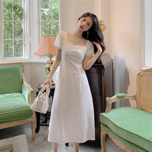 Long-Skirt Retro White Chiffon with Thin-Waist And Square Collar Open-Back Platycodon