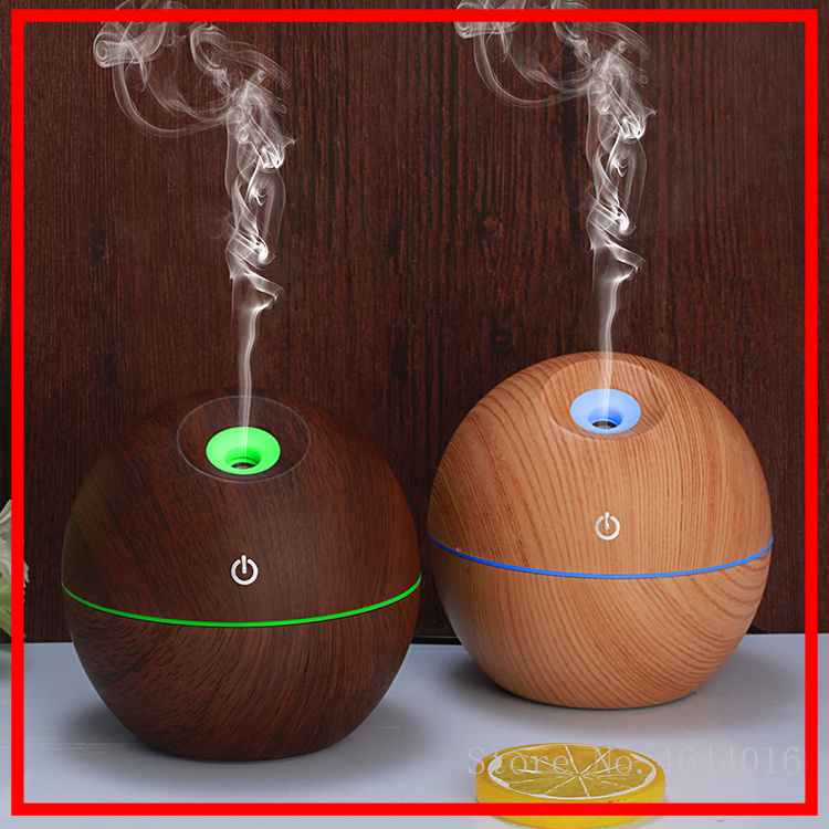 LED Slant Nozzle Wood Grain Humidifier 2018 New Gifts Product Usb Amazing Mini Humidifier Essential Oil Aroma Diffuser