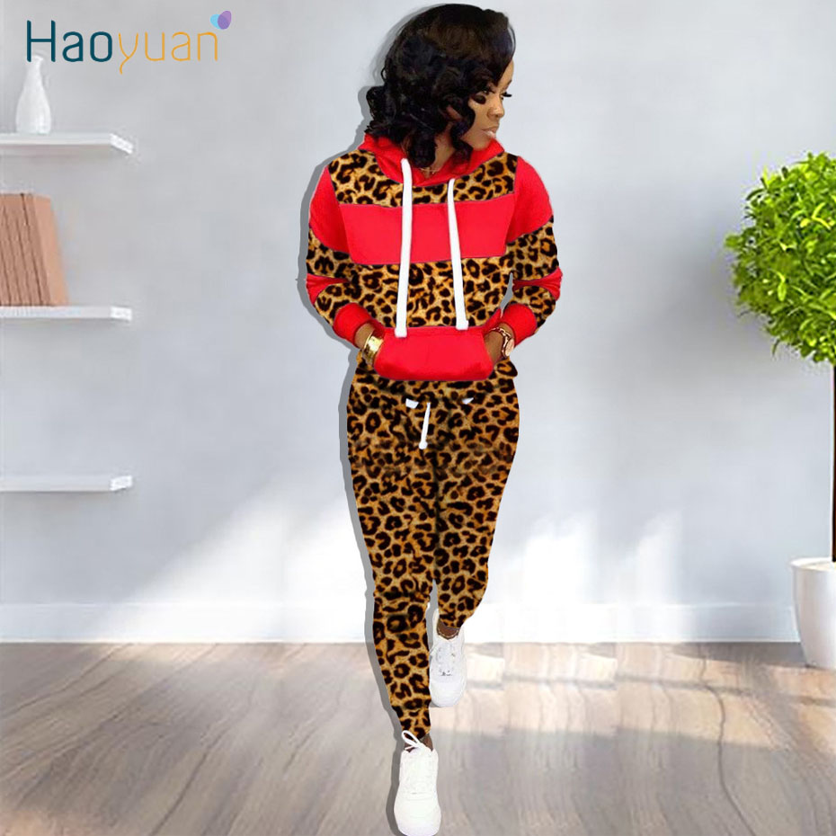 HAOYUAN Leopard Two Piece Set Women Tracksuit Fall Clothing Long Sleeve Hoodie Top And Pant 2 Piece Outfits Matching Sweat Suits