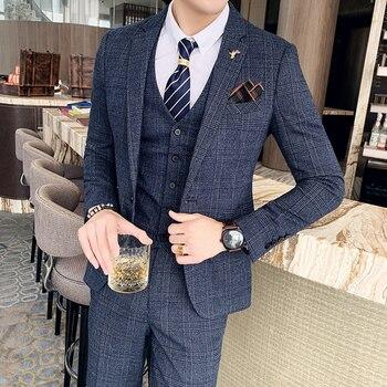 ( Jacket + Vest + Pants ) Boutique Fashion Mens Plaid Casual Business Suit High-end Social Formal Suit 3 Pcs Set Groom Wedding 17