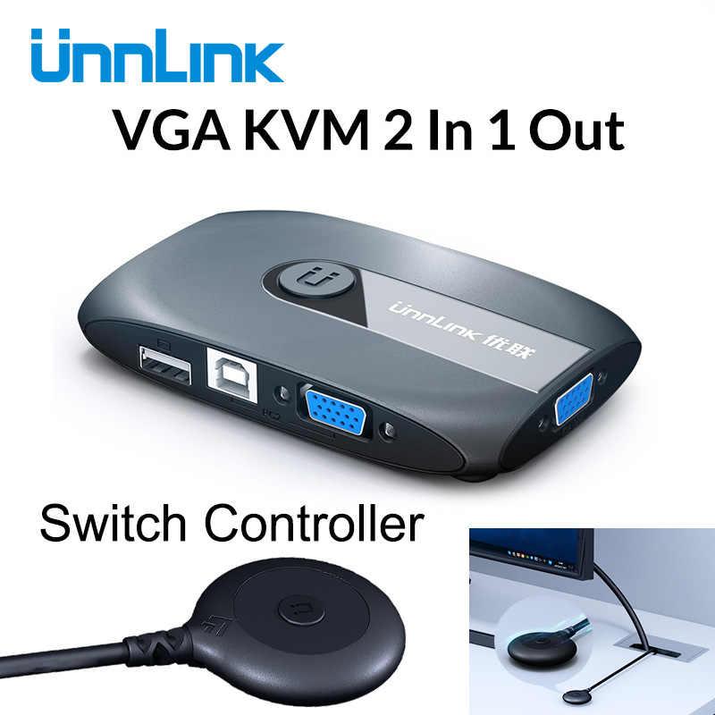 Unnlink 2X1 VGA KVM สวิตช์กล่องตัวเลือก Extender 2 พอร์ต USB 2.0 สำหรับการแชร์เมาส์คีย์บอร์ดสำหรับ 2 คอมพิวเตอร์แล็ปท็อป PCS