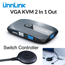 Unnlink 2X1 VGA KVM Switch Box Selector mit Extender 2 Ports USB 2.0 Sharing monitor maus tastatur für 2 computer Laptops PCs(China)