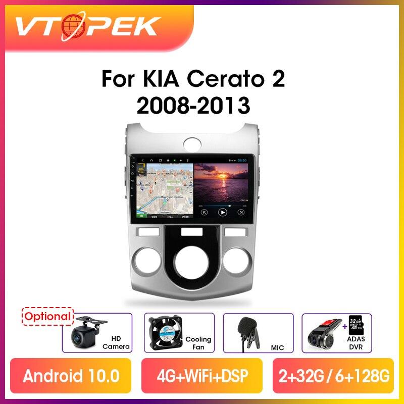 Автомагнитола Vtopek, мультимедийный видеоплеер на Android 10,0, 9 дюймов, 4G + WiFi, GPS, DSP, для Kia Cerato 2 TD 2008-2013