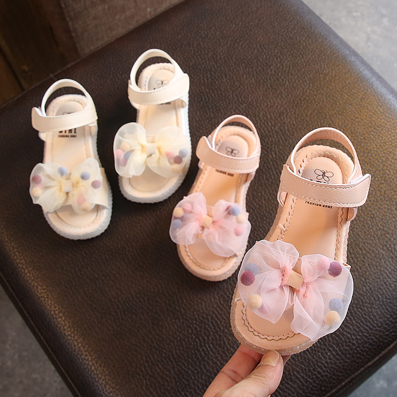 Girls Sandals Clear Lace Mesh 2020 Summer New Bow Princess Shoes Korean Children Baby Non-slip Beach Shoes With Hair Ball D03063