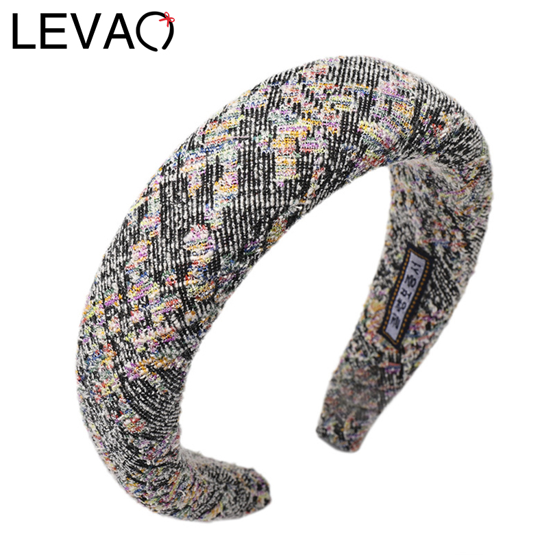LEVAO Women Autumn And Winter Pearl Spike Nail Sponge Padded Headband Bezel Turban Girls Hair Hoop Hair Accessories Hairbands