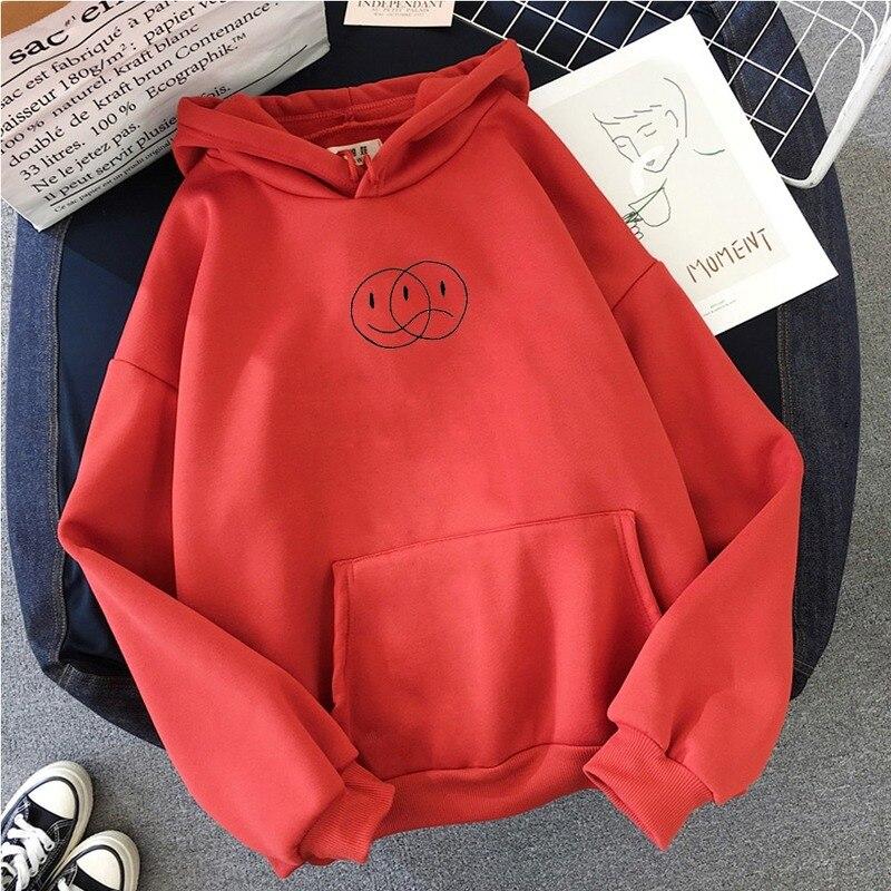 Korean Streetwear Sweatshirt Men Women Casual Pullover Hip Hop Long Sleeve Smile Sad Face Line Print Sport swear Tops Hoodies 5