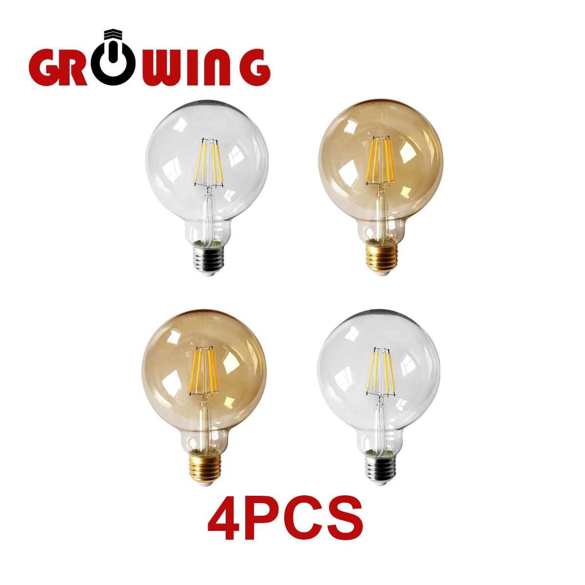 4pcs/lot Retro Edison Filament Bulb G95 E27 6W Bombillas 220V-240V Vintage Lamp 2500K Gold Glass Bulb Home Decoration