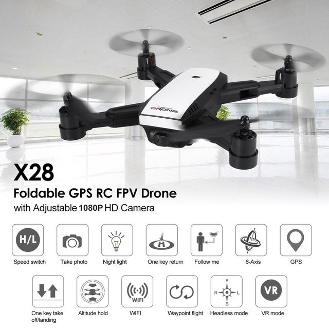 LH-X28GWF Mini Dron Wifi Control Distance GPS FPV 4-Axis RC Drone with 720P/1080P HD Camera 2/3 Battery LED Light One Key Return