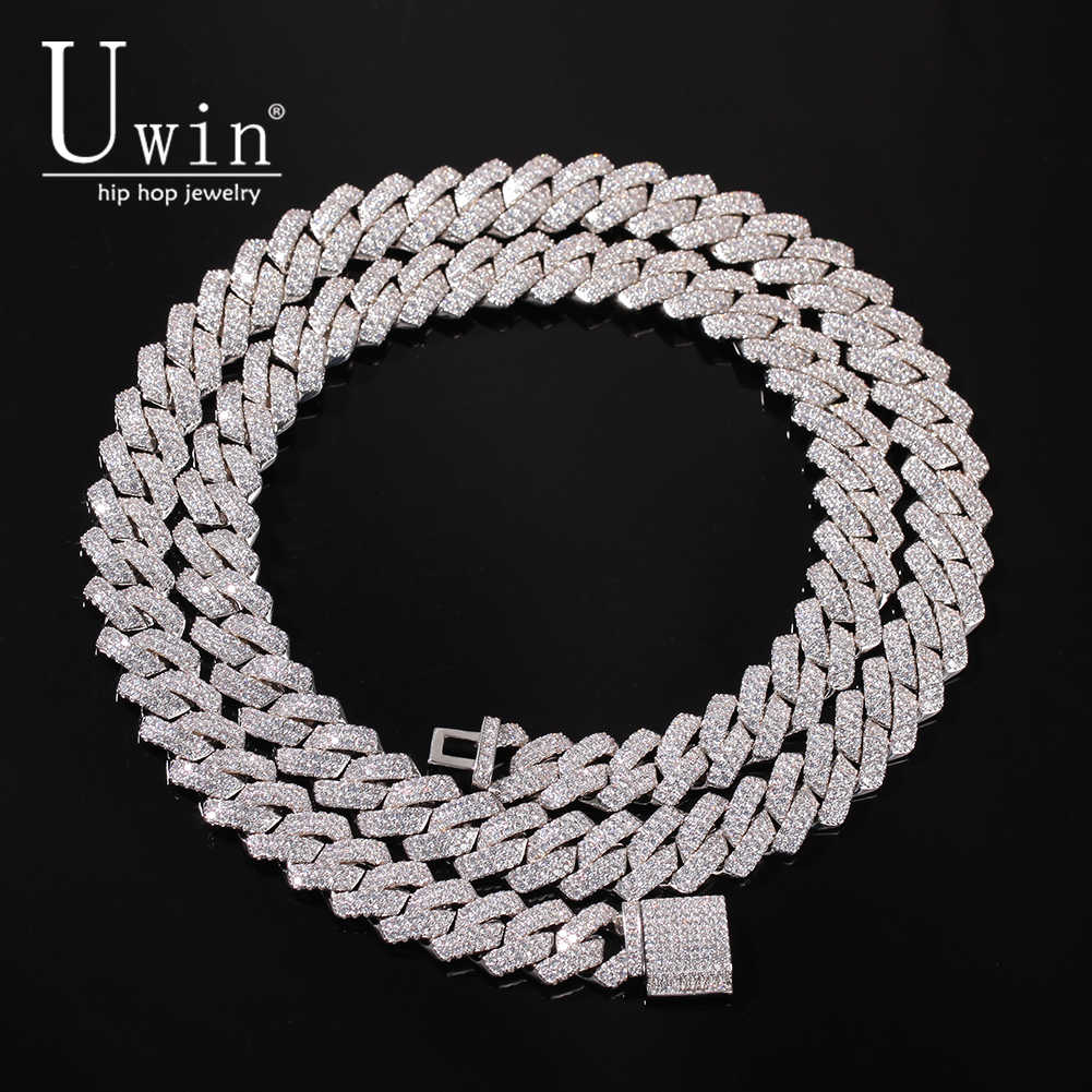 Uwin PRONG 13mm Cuban CHAIN Micro Pave Cubic Zircon ผสม Luxury Bling Bling Iced OUT Charms เครื่องประดับ HIPHOP