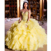 2020 Yellow Luxury Quinceanera Dresses Ball Gown Sweet 16 Puffy Masquerade Quinceanera Gown Prom Dresses for 15 Years