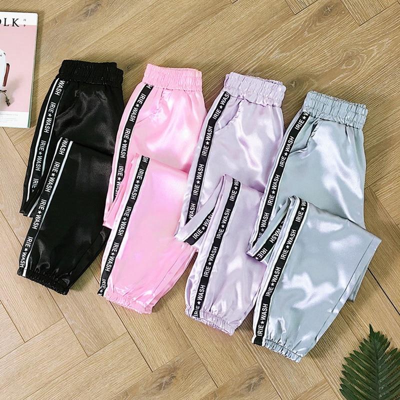 CALOFE Big Pocket Satin Highlight Loose Pants Women Glossy Sport Ribbon Trousers BF Harajuku Joggers Women's Sports Pants