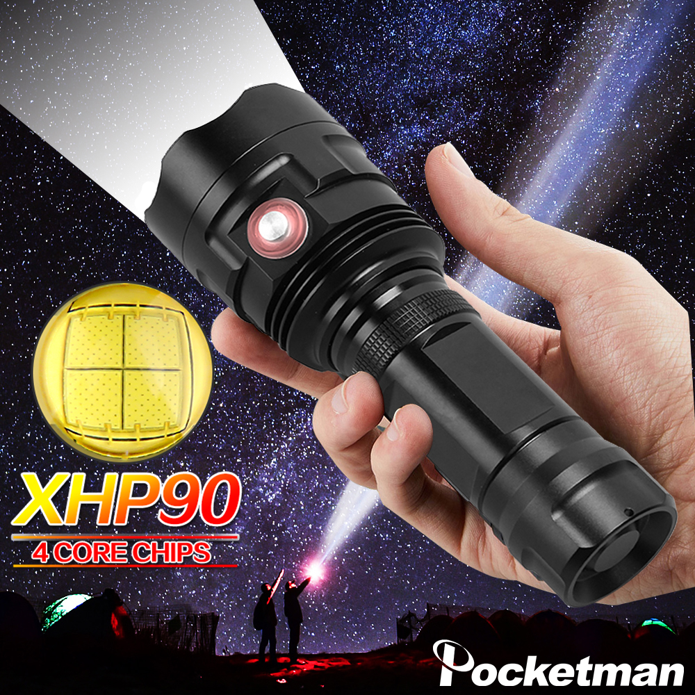 New XHP90 LED Flashlight 6 Modes Torch USB Rechargeable Flashlight Hunting Torch Super Bright Waterproof Torch 18650/26650