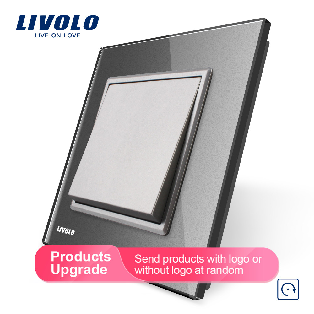 Image 3 - Livolo Manufacturer EU standard Luxury 4 colors crystal glass panel, 1 gang 1 way Push Reset switch, VL C7K1H 11/12/13/15-in Switches from Lights & Lighting