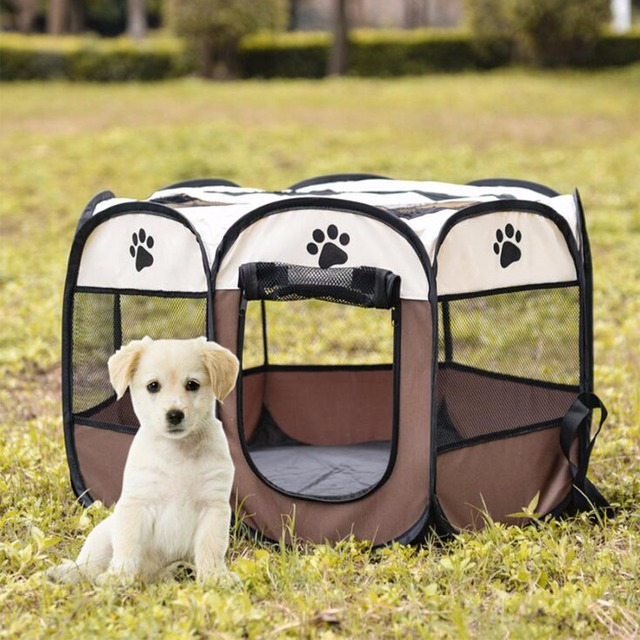 Pet Cage Portable Pet Tent Folding Dog House Cage Cat Tent Playpen Puppy Kennel Easy Operation Octagonal Fence Large Dogs House 5