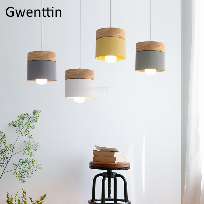 Nordic Iron Wood Pendant Light Fixtures Modern Led Hanging Lamps Loft Decor Industrial Lamp Kitchen Lights Suspension Luminaire