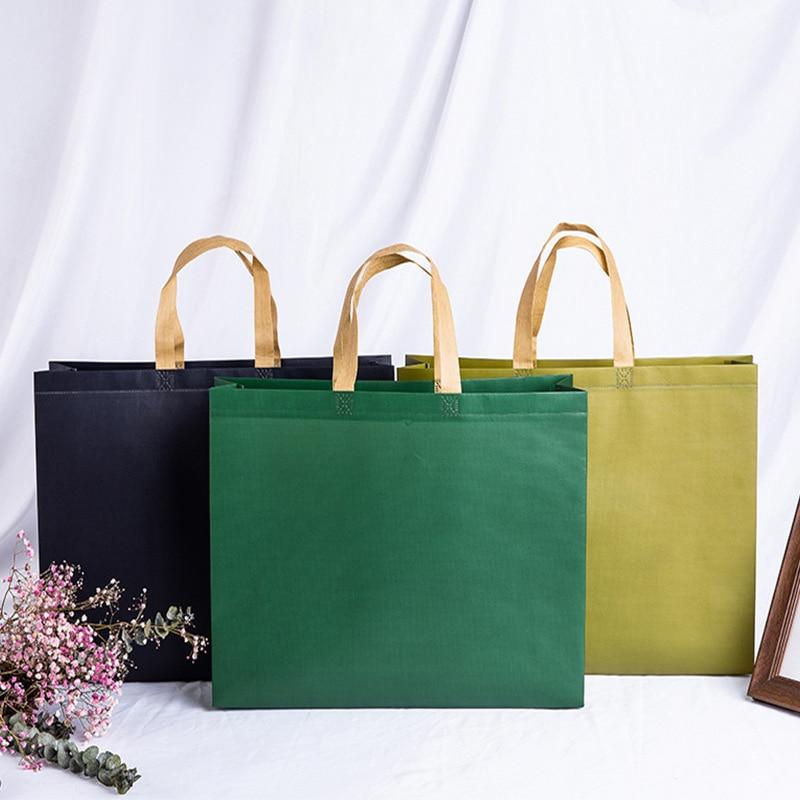 Portable Bags Large Storage Environmental Reusable Tote Organizer Shopping Bag Solid Color Custom Advertising Fashion Bags Hot