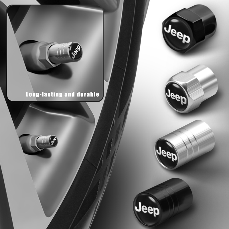 4 шт., алюминиевые колпачки на клапаны автомобильных шин, воздушные стебли, пылезащитный чехол для Jeep Ranegade Patriot Wrangler JK Grand Cherokee XJ Compass