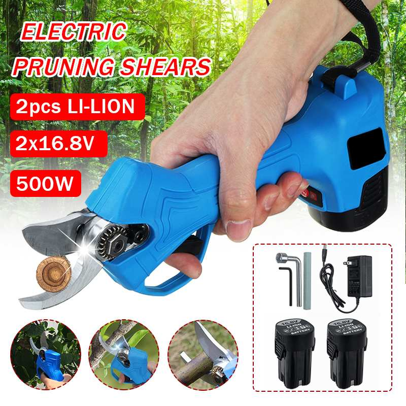 500W Wireless Electric Scissors Pruning Shears 16.8V Tree Cutter Garden Tool Branches Pruning Tools W/ 2x 2000mAh Battery