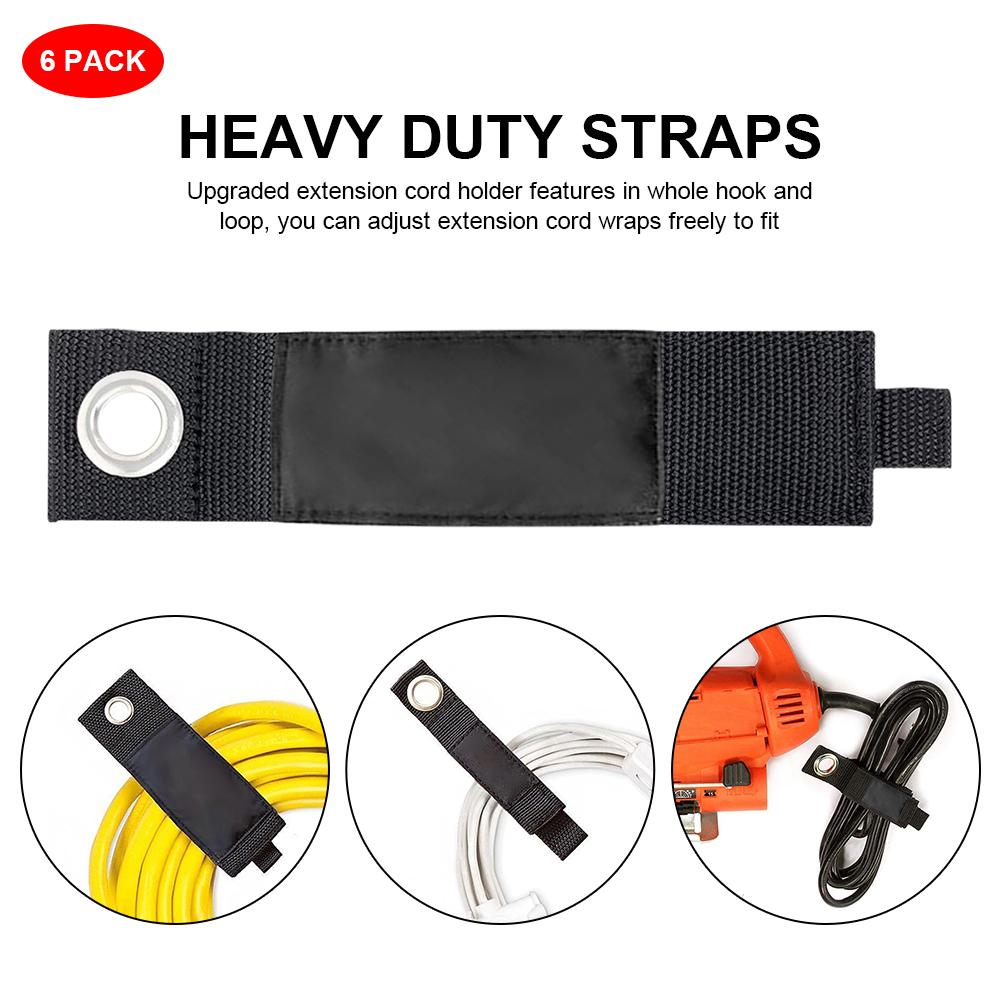 6PCS Extension Cord Holder Heavy Duty Storage Straps Hook Loop Cord Organizer Hanger Home Shop RV Boat Keeper