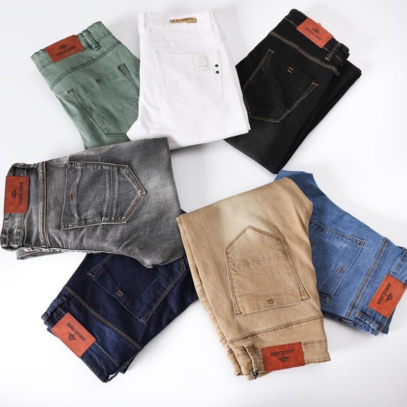 Pantalones Vaqueros Ajustados Elasticos Para Hombre Jeans Ajustados Informales A La Moda Color Gris Negro Caqui Y Blanco Marca 4 8 259 Rev 7 Colores Pantalones Vaqueros Aliexpress