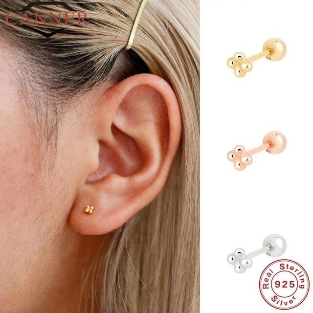 CANNER 1 Pair Real 925 Sterling Silver Stud Earrings for Women Piercing Cartilage Earring Minimalist Small Cute Earings Jewelry 2