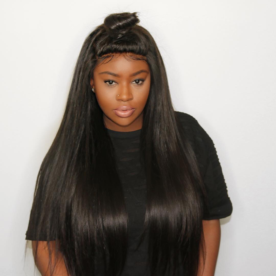 Silky Straight Full Lace Wig With Baby Hair 180Density Glueless Full Lace Human Hair Wigs Brazilian Remy Pre Plucked Hailine