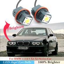 160W par lâmpada Do Farol LED BMW Angel eyes 1 5 6 7 X3 X5 série E 87 39 60 M5 61 63 64 65 66 83 53 525 530 540 i xi Anéis de Luz